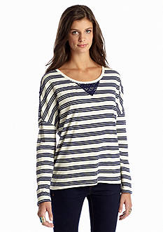 Red Camel® Stripe Lace Knit Top