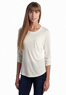 Red Camel Long Sleeve Shirt Tail Pocket Tee