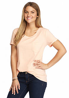 Red Camel Scoop Neck Pocket Tee