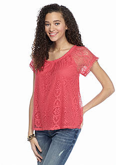Red Camel Solid Short Sleeve Crochet Top