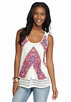 Red Camel® Printed Crochet Back Tank