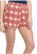 Red Camel® Printed Crochet Trim Soft Shorts