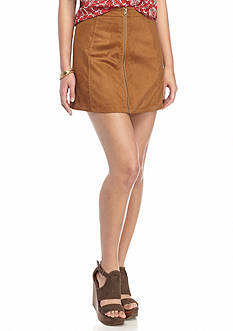 Red Camel Faux Suede Zipper Front Skirt