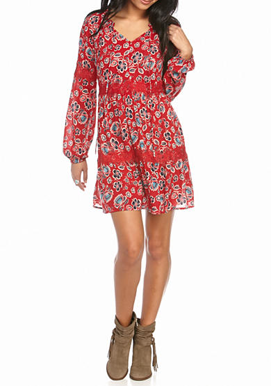 Red Camel® Embroidered Gauze Tier Peasant Dress
