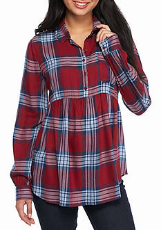 Red Camel Plaid Button Front Peplum Top