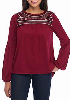 Red Camel Embellished Yoke Top