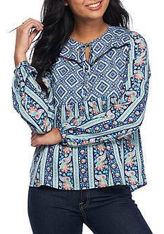 Red Camel Printed Babydoll Top