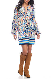 Red Camel Printed Lace Up Dress