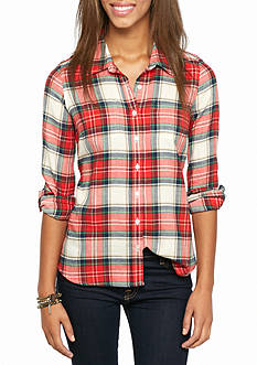 Red Camel Plaid Flannel Shirt