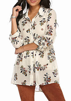 Red Camel Floral Extreme High Low Tunic