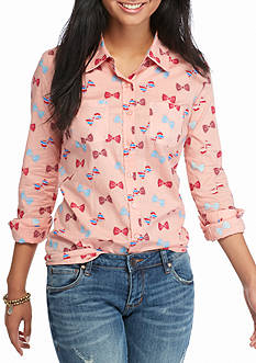 Red Camel Bow Printed Basic Shirt
