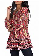 Red Camel® Print Peasant Top