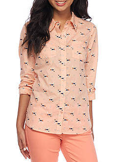 Red Camel Dog Print Button Down Shirt