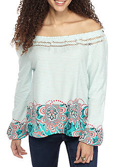Red Camel Off the Shoulder Long Sleeve Senorita Top