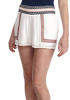Red Camel Woven Embroidery Shorts