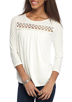 Red Camel Floral Crochet Top