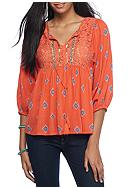 Red Camel® Woven Embellishment Peasant Top