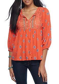 Red Camel Woven Embellishment Peasant Top
