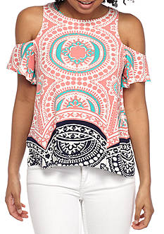 Red Camel Printed Cold Shoulder Top