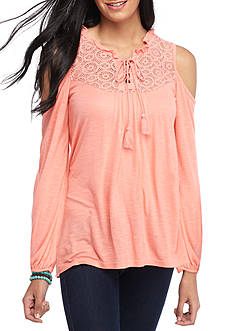 Red Camel Crochet Yoke Cold Shoulder