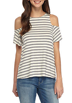 Red Camel Striped Knit Cold Shoulder Top