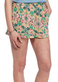 Red Camel Pom Pom Trim Shorts