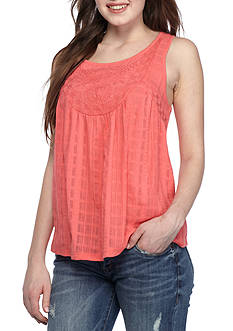 Red Camel® Sleeveless Gauze Front Top