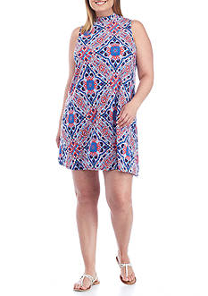 Red Camel Plus Size Printed Knit Dress