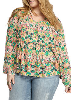 Red Camel Plus Size Printed Peasant Blouse