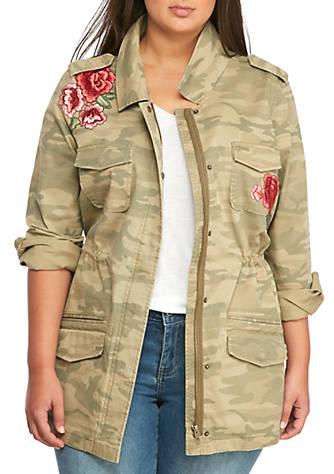 True Craft Plus Size Embroidered Camo Jacket Belk