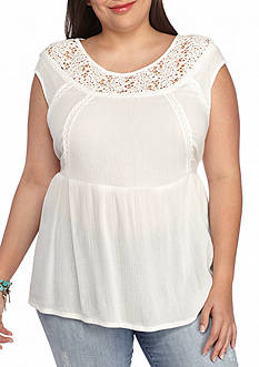 Red Camel® Plus Size Crochet Neck Top