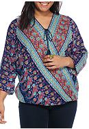 Red Camel® Plus Size Mix Printed Top