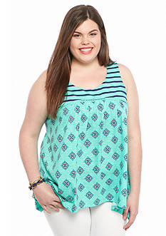 Red Camel® Plus Size Twin Print Top