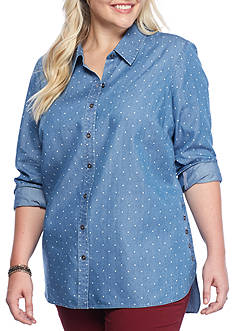 Red Camel® Plus Size Polka-Dot Chambray Top