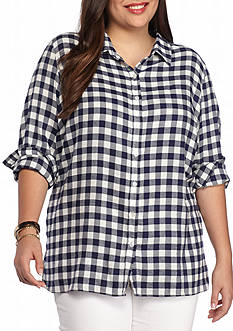 Red Camel® Plus Size Plaid Top