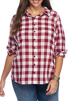 Red Camel Plus Size Basic Plaid Shirt