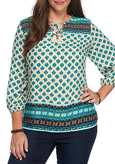 Red Camel Plus Size Floral Print Lace-Up Blouse