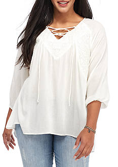 Red Camel® Plus Size Lace Up Woven Top