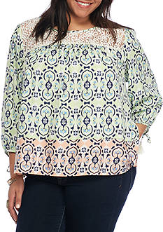 Red Camel Junior's Plus Long Sleeve Lace Blouse