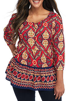 Red Camel® Plus Size Printed Peasant Top