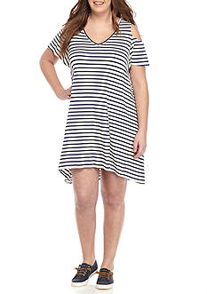 Red Camel® Plus Size Striped Cold Shoulder Knit Dress