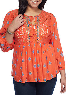 Red Camel Plus Size Embroidery Top
