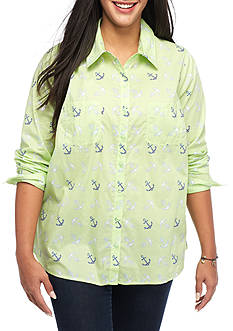 Red Camel Plus Size Anchor Print Shirt