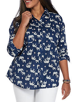 Red Camel® Plus Size Button Front Elephant Print Shirt