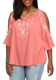 Red Camel Plus Size Embroidered Cold Shoulder Blouse