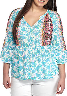 Red Camel® Plus Size Printed Cold Shoulder Peasant Blouse