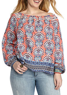 Red Camel Plus Size Señorita Off Shoulder Crochet Trim Blouse