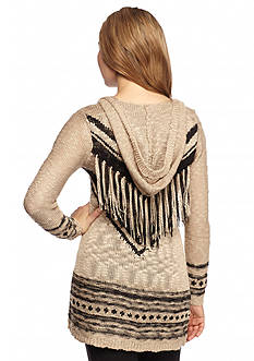 It's Our Time Fringe Back Hooded Cardigan