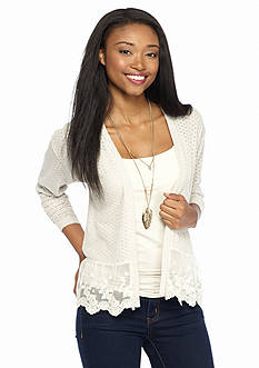 It's Our Time Pointelle Cardigan With Lace Hem