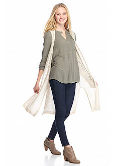 It's Our Time Long Pointelle Duster Cardigan